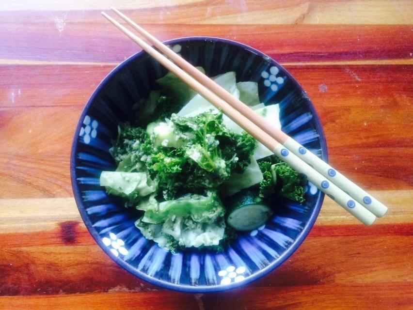 Cucumber pesto sauce with simmered veggies