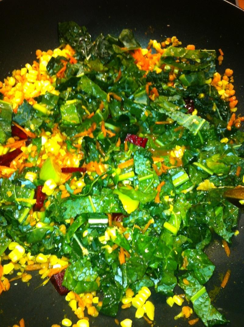 Sweet cauliflower red lentils with fresh green leafy veggies