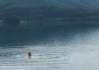Swimming at mountain lake